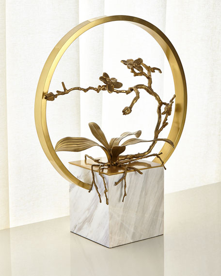 Antiqued Brass Orchid Table Top Sculpture