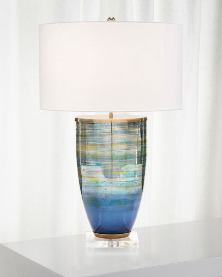 John-Richard Collection Blue Striated Glass Table Lamp