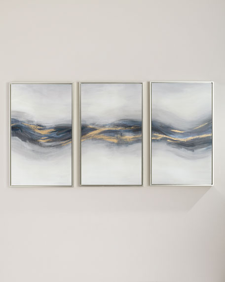 """""""Beneath the Blue"""" Giclee Canvas Wall Art, Set of 3"""