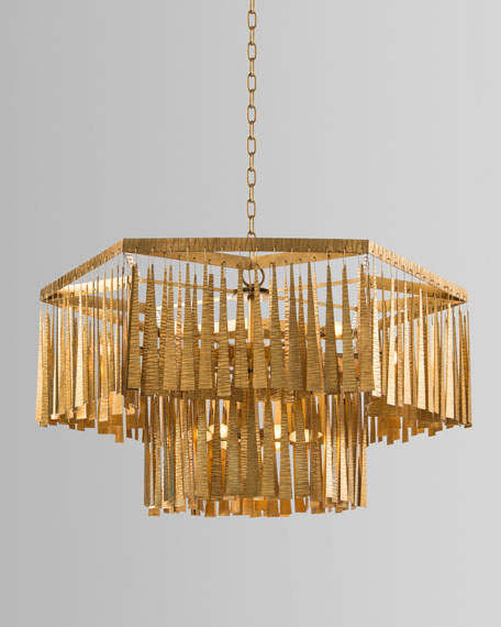 Two-Tiered 12-Light Gold Leaf Chandelier