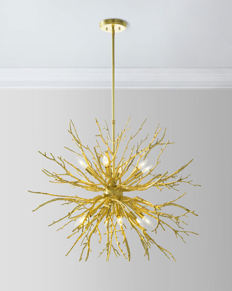 John-Richard Collection Branches of Gold 12-Light Chandelier