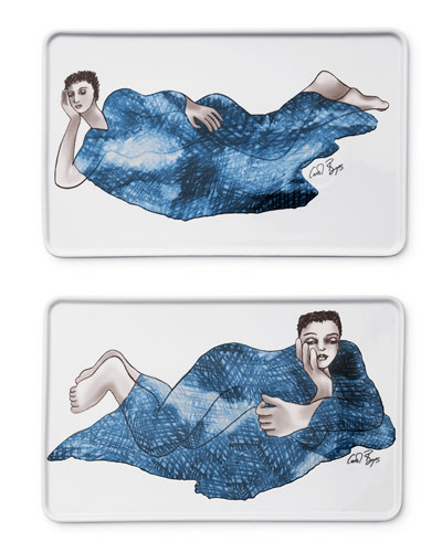 Indigo Girl's Rectangle Platters, Set of 2