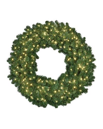 Warm White LED Christmas Wreath, 48