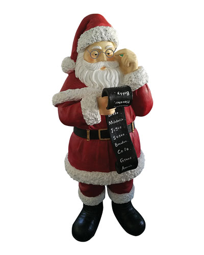 Live Form 5-Ft. Santa with Name List Outdoor Christmas Decoration