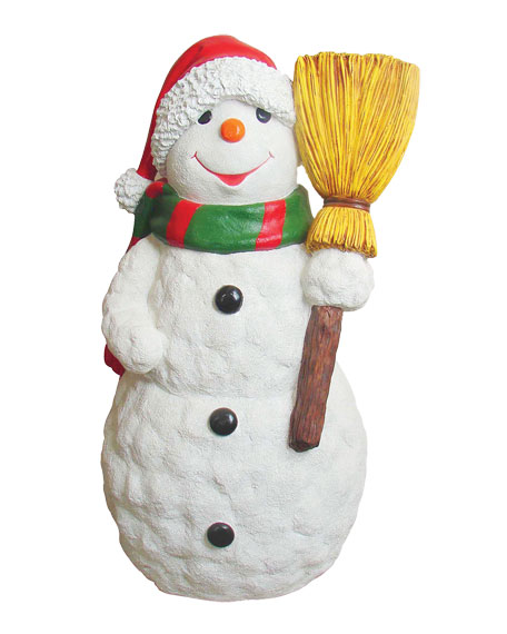 live form snowman with scarf hat broom outdoor christmas decoration - Christmas Broom Decoration