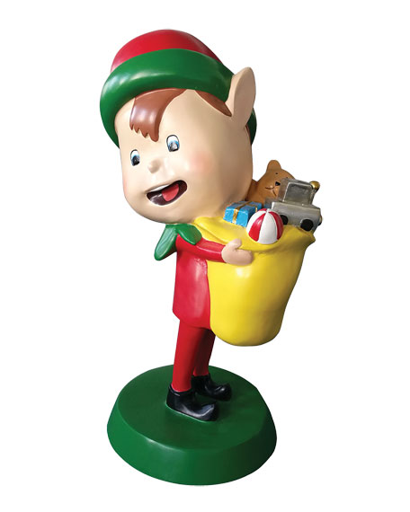 """Live Form Elf with Toy Outdoor Christmas Decoration, 30"""""""