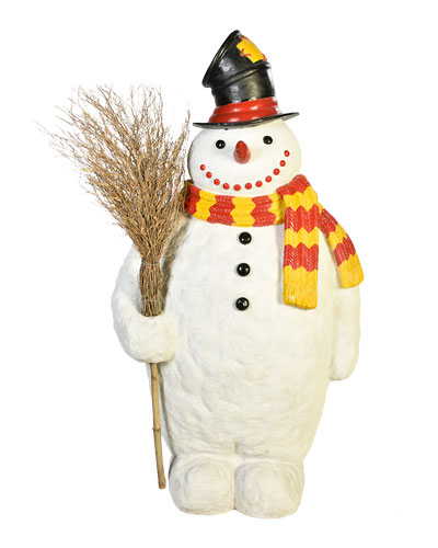 Live Form Snowman with Broom and Top Hat Outdoor Christmas Decoration, 74