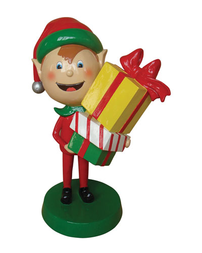 Live Form Elf with Gift Box Outdoor Christmas Decoration, 30