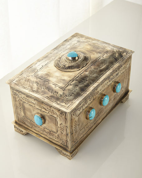 Stamped Box with 9 Turquoise Stones
