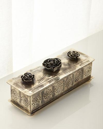 Medium Stamped Rose Pencil Box