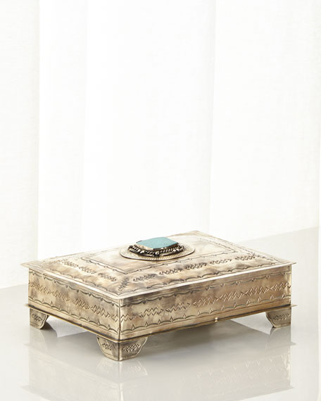 J. Alexander Rustic Silver Stamped Box with Turquoise