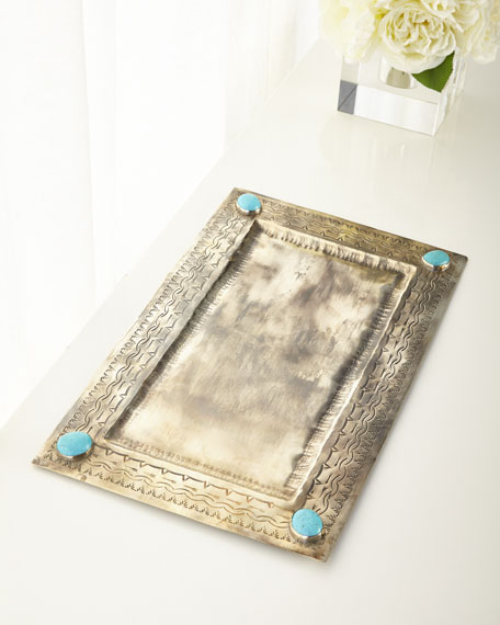 Large Stamped Tray with Turquoise Stones
