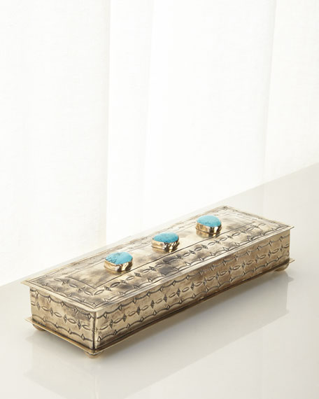 Long Stamped Box with Turquoise Stones