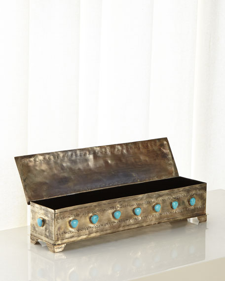 Large Stamped Mantle Box with Turquoise Stones