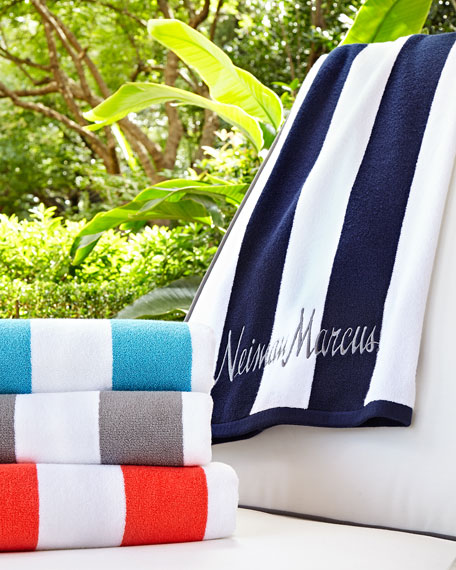 Kassatex Striped Embroidered Beach Towel