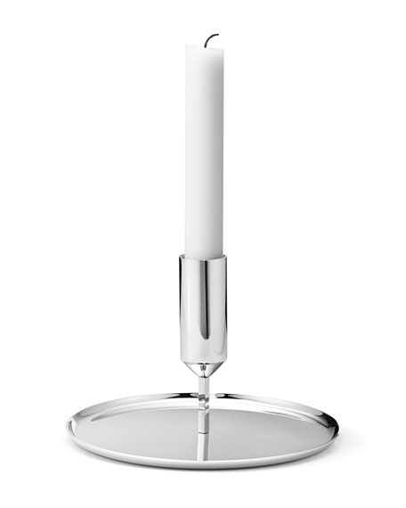 Tunes Stainless Steel Low Candlestick Holder