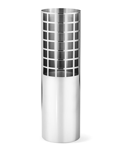 Matrix Tube Mirror Stainless Steel Medium Vase