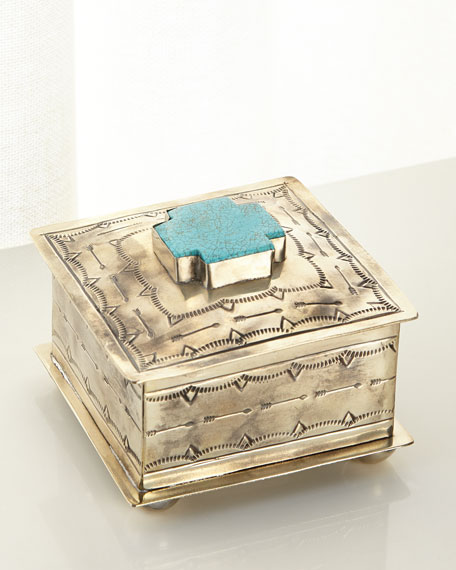 J. Alexander Rustic Silver Small Stamped Box with