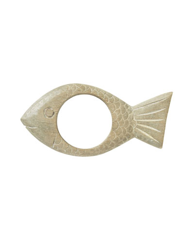 Wooden Fish Greywash Napkin Ring