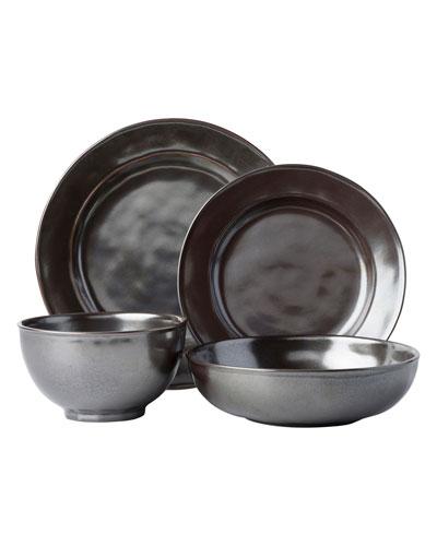 4-Piece Pewter Stoneware Dinnerware Place Setting