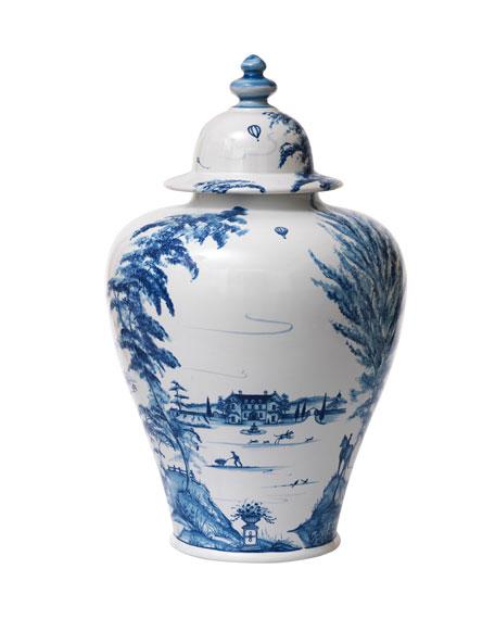 Country Estate Delft Blue Lidded Ginger Jar