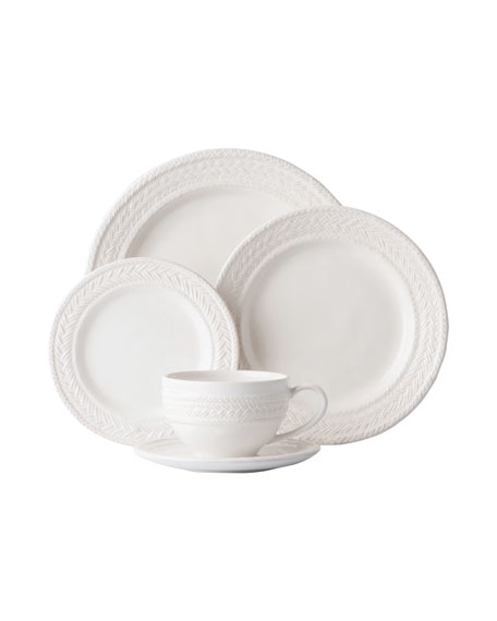 5-Piece Le Panier Whitewash Dinnerware Place Setting