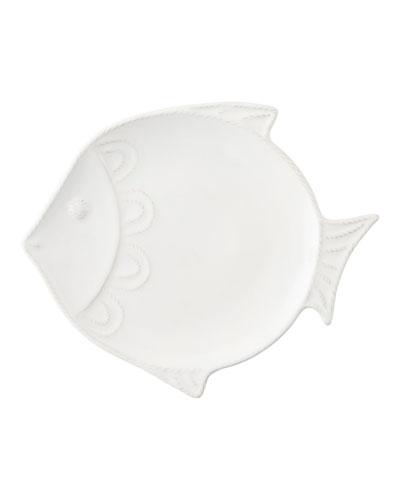 Berry & Thread White-Wash Crackle Fish Dessert/Salad Plate