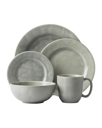 5-Piece Puro Mist Grey Crackle Dinnerware Place Setting
