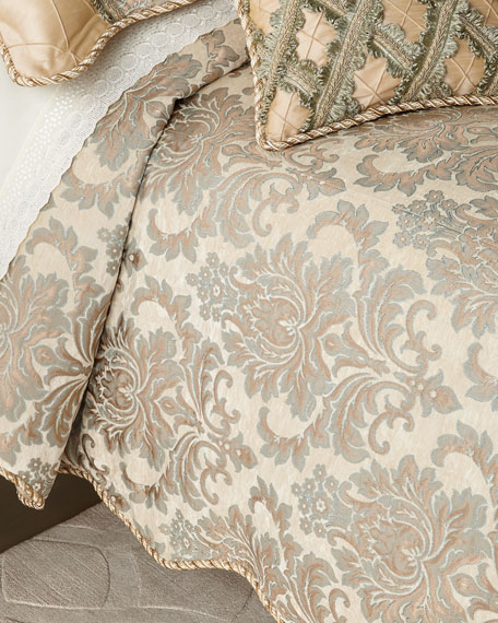 Gianna Scalloped Damask Queen Duvet