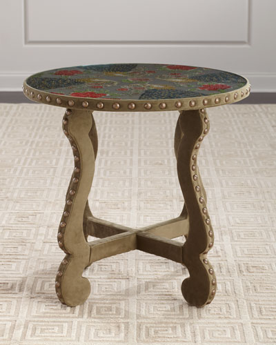 Peacock Embroidered Side Table