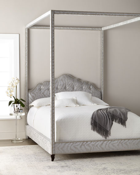 Haute House Athena Zebra Queen Canopy Bed