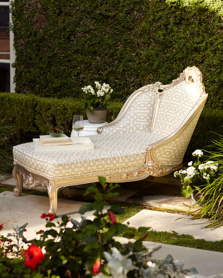 Fretwork Pewter Chaise Lounge