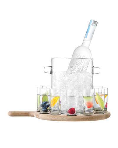 Vodka Serving Set and Oak Paddle