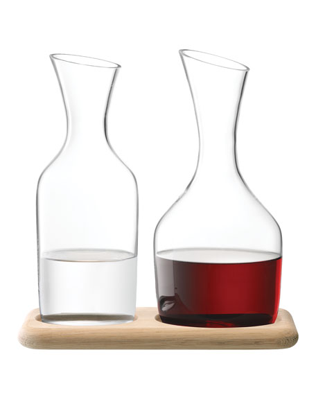 LSA Water and Wine Carafe Set with Oak