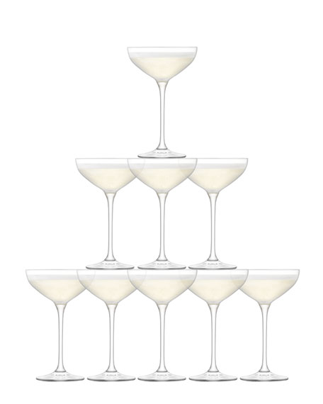 LSA Tower Champagne Glasses, Set of 10
