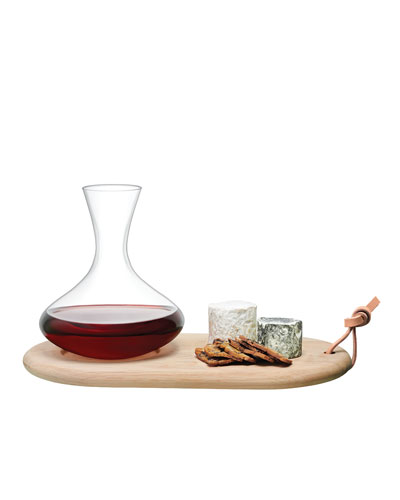 Carafe and Oak Cheese Board Set
