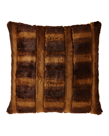 Spencer Pieced Faux-Fur European Sham
