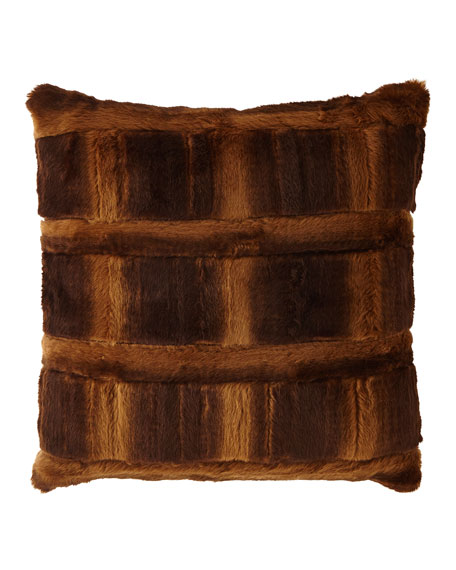 Spencer Pieced Faux-Fur Square Pillow