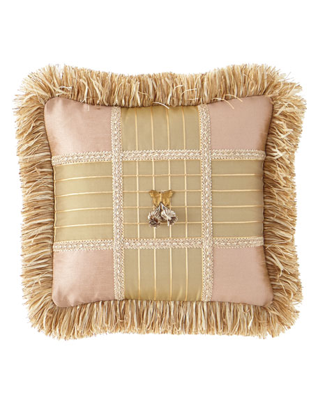 Delilah Square Pillow with Butterfly Center