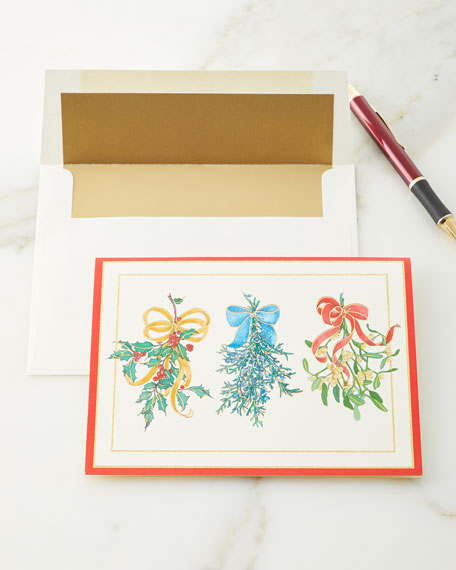 Christmas Greenery Embossed Cards & Envelopes, Set of