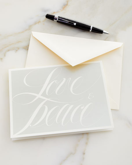 Love & Peace Embossed Holiday Cards