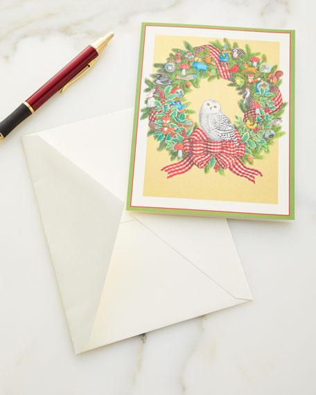 Caspari Christmas Cards.Snowy Owl Wreath Holiday Cards