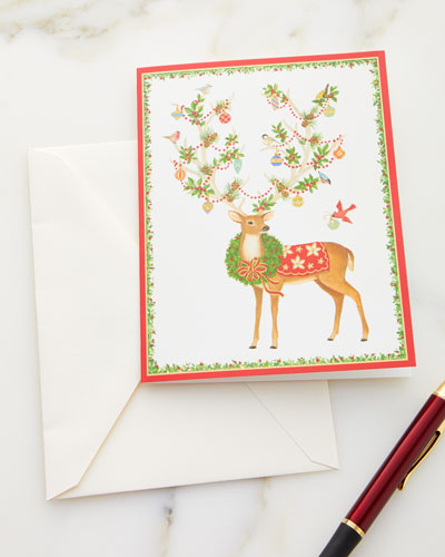 Reindeer with Ornamented Antlers Printed Holiday Cards