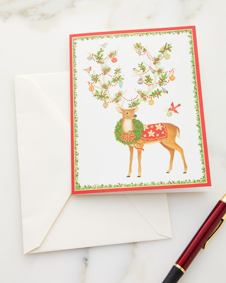 Reindeer with Ornamented Antlers Printed Holiday Cards