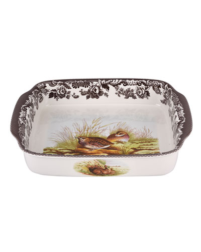 Woodland Quail/Mallard Rectangular Handled Baking Dish