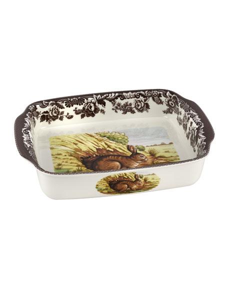 Woodland Rabbit Rectangular Handled Baking Dish