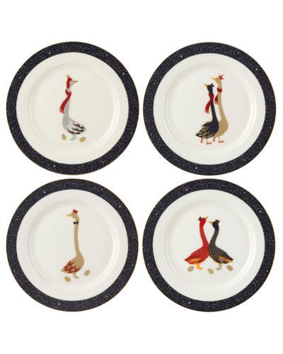 Assorted Geese Dessert Plates, Set of 4