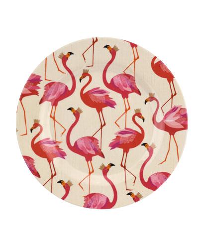 Flamingo Melamine Salad Plates, Set of 4