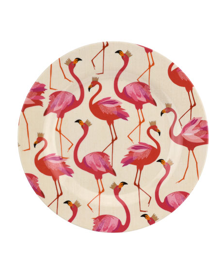 Flamingo Melamine Salad Plates, Set of 4