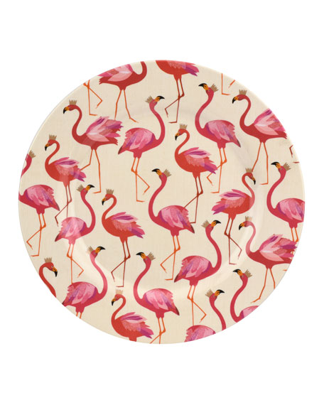 Flamingo Melamine Dinner Plates, Set of 4
